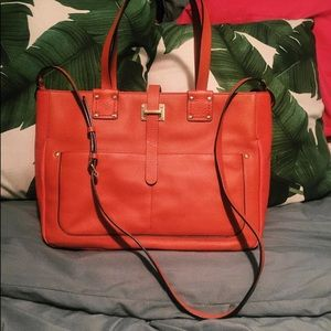 Orange leather Henri Bendel tote